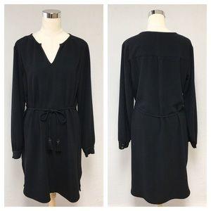 Merona Solid Black Tassel Shift Dress 8D
